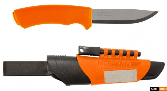 Couteau Mora Bushcraft Survival Orange Inox