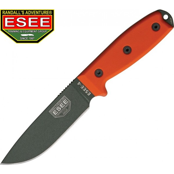 Esee - Couteau Esee 4 Lame lisse Olive Manche Orange G10 + Etui + Molle back