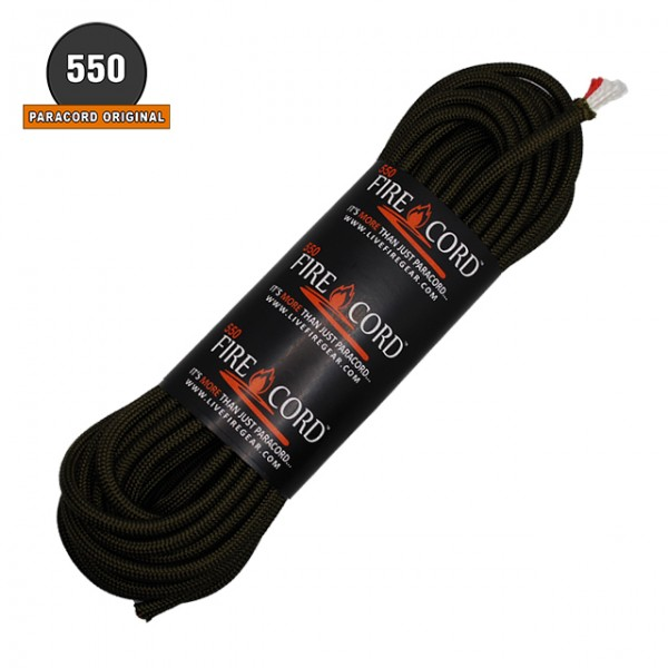 Live Five Gear - Paracord Fire Cord 550 - 7.60 ml - Olive Drab