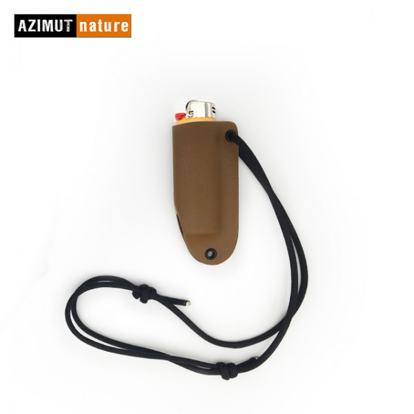 Azimut Nature - Etui de cou Kydex avec briquet Bic GM - Coyote