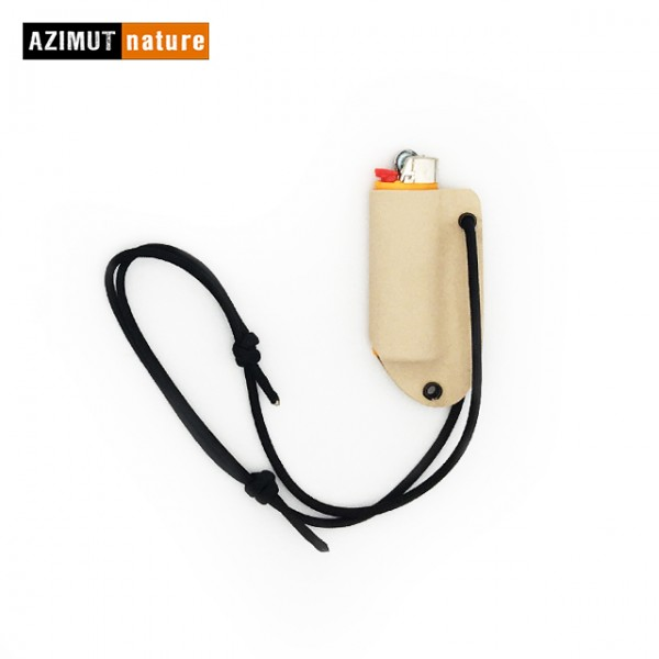 Azimut Nature - Etui de cou Kydex avec briquet Bic GM - Tan