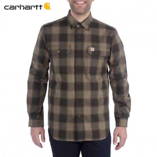 Carhartt - Chemise à carreaux HUBBARD Slim Fit Flannel Burnt Olive
