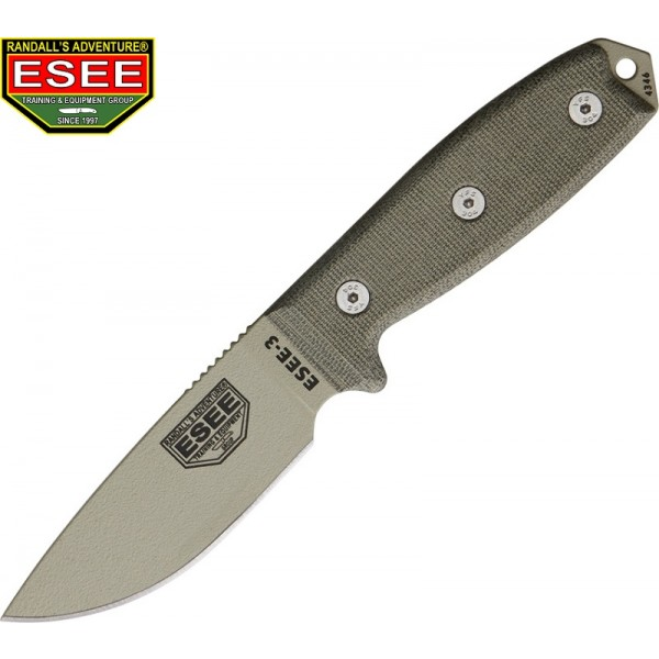 Esee - Couteau Esee 3 Lame Lisse Tan + tui PE Green + clip ceinture