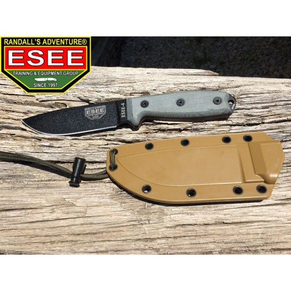 Esee - Couteau Esee 4 Lame lisse Black + Etui Brown + Clip Plate