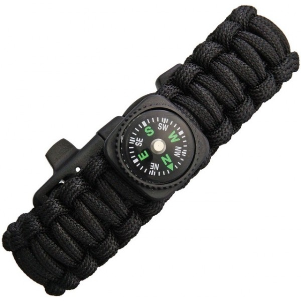 Explorer - Bracelet Paracorde Survival Sifflet + Firesteel Black
