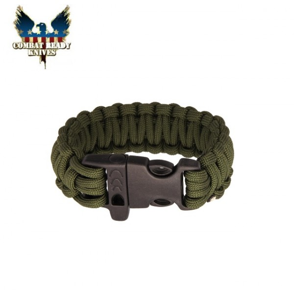"Combat Ready - Bracelet Paracord de Survival 9"" Olive Green"