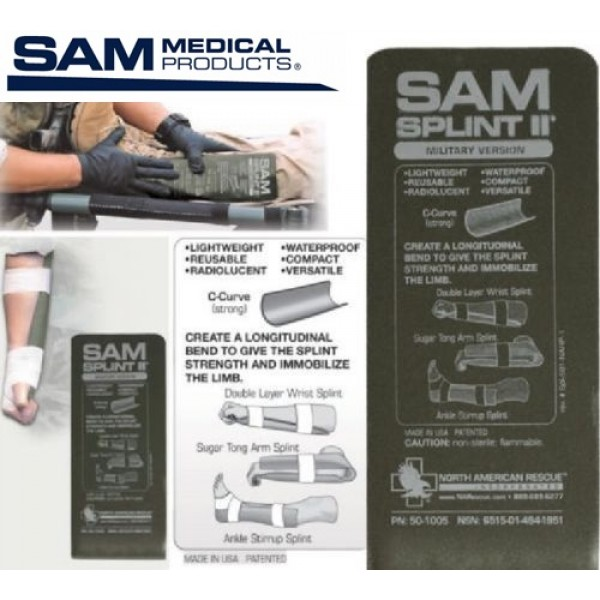 SAM MEDICAL - Attelle 23cm X 10.5cm  Armée