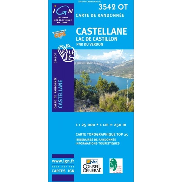 Carte IGN top25 Castellane / Lac de Castillon